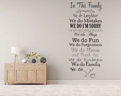In This Family We Do... Vinyl Wall Decal Inspirational Custom Vinyl Lettering Decal Family Wall Sign Custom Wall Decal We Do Love by inspirationwallsigns. Explore more products on http://inspirationwallsigns.etsy.com