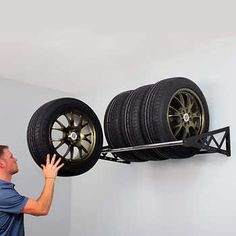 SafeRacks Tire Rack Wall Mounts with 8 Heat Treated Lag BoltsHolds Up to 400 Lbs.Adjustable Support Rods Extend Up to Dimensions x x Garage Storage Racks, Overhead Garage Storage, Garage Shelving, Tire Storage Rack, Tool Storage, Storage Sheds, Wire Shelving, Ikea Hacks, Garage Workshop Organization