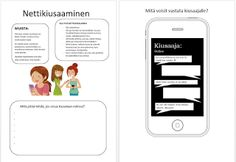 Nettikiusaaminen -moniste Digital Citizenship, Worksheets, Social Media, App, Teaching, Literacy Centers, Apps, Social Networks, Social Media Tips