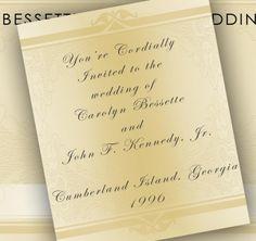 Carolyn Bessette Kennedy and John F. Kennedy Jr. - Wedding Invitation