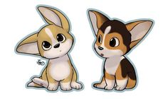 Cute Cartoon Corgis
