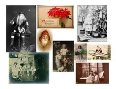 Old VINTAGE Antique CHRISTMAS COLLAGE Photos ATC ACEO