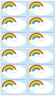 Rainbow Tags Rainbow Paper, Rainbow Crafts, Rainbow Art, Rainbow Birthday Party, Rainbow Theme, Rainbow Activities, Barbie Paper Dolls, School Labels, Classroom Labels