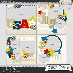 U.S.A. - 12x12 Templates (CU Ok) by Connie Prince. Includes 4 12x12 templates, saved as layered PSD & TIF files as well as individual PNG files. Also, includes layered .page files for use with SBC+3, SBC 4 & Panstoria Artisan software. Scrap for hire / others ok. Commercial Use Ok, NO credit required.