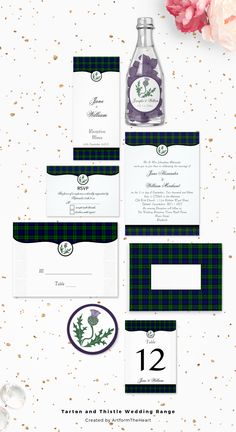 A co-ordinating Wedding Invitation and stationery suite with a Scottish theme featuring tartan plaid and a scottish thistle flower. This range can be supplied in any tartan of your choosing. Designed by ArtformTheHeart of www.cmdesignstyle.com
