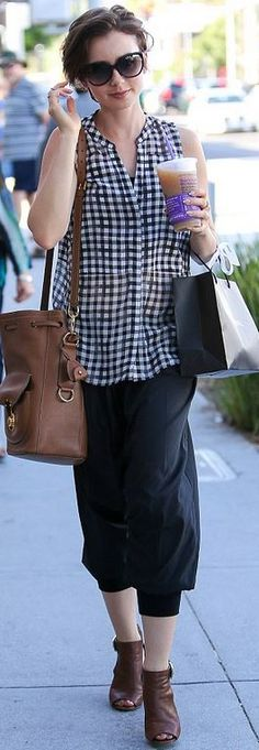 Who made Lily Collins' black gingham print top and brown bucket bag?