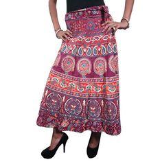 Mogulinterior Wrap Around Skirt Maroon Ethnic Printed Long Hippy Indian Designer Bohemian Clothing