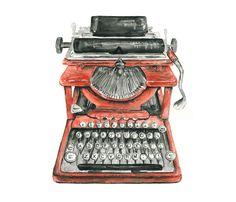 typewriter watercolor giclee print - 8x10 // Vintage Typewriter Illustration // office art // wall decor on Etsy, $20.00
