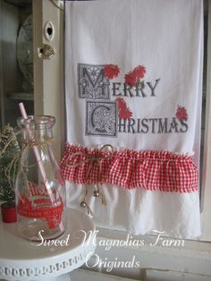 "Christmas Flour Sack Kitchen Towel ""Merry Christmas"" Poinsettias by SweetMagnoliasFarm, $18.25"