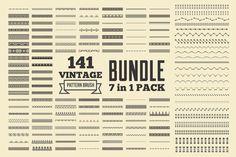 Vintage Patterns Brushes Bundle by G7 on @creativemarket