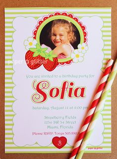 Strawberry Party Invitation for birthday or baby shower not strawberry shortcake Invite or Thank You Card with PHOTO Printable PDF or JPG