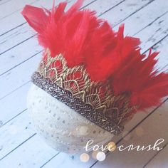 NEW holiday glam feather crown. red and gold christmas feather headdress photography prop child- adult sizes ORIGINAL DESIGN Feather Crown, Feather Headdress, Elastic Headbands, Baby Headbands, Gold Lace, Red Gold, Blush Beauty, Lace Crowns, Pink Feathers