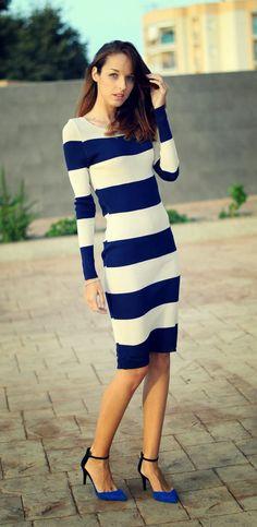 vestido a rayas corte midi