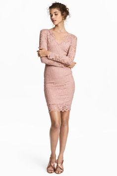 Robe ajustée en dentelle - Rose poudré - FEMME | H&M FR 1