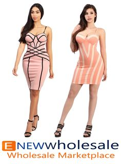 Adjustable spaghetti strapped bodycon dress.  Cap and thin padding inserted on the chest area.  Contrast lines designed front. Zipper on the back to secure.  Content: 95% polyester 5%Spandex Package of 3 pieces: 1S, 1M, 1L per color only. Made in USA