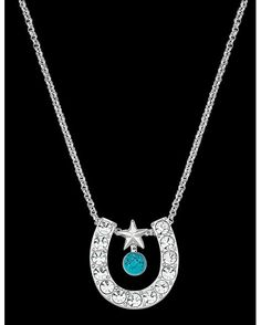 CZ Horseshoe with Turquoise Necklace  $29.95  Montana Silversmiths