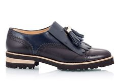 Fratelli Karida Colorblock blue & black leather fringe oxford perforated women brogues