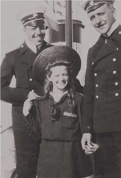Tatiana with officers onboard the Polar Star, 1907/8