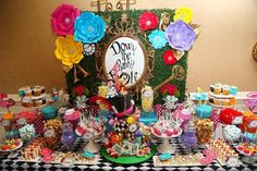 Alice in Wonderland Dessert Buffet Table with Cake. Photo Credit: MTC Photography