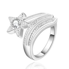 Alaglossa Sterling Silver Plated Rings Cubic Zirconia