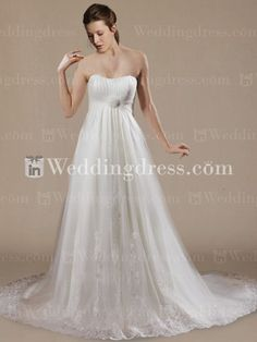 Strapless+informal+A-Line+Tulle+Beach+Wedding+Gown+BC726