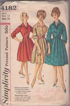 MOMSPatterns Vintage Sewing Patterns - Simplicity 4182 Vintage 60's Sewing Pattern SWELL Rockabilly Housewife Box Pleated Proportioned Shirtwaist Day Dress