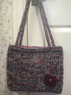 Hand Knitted Burgundy Blue Tweed Mix Tote Bag £9.00