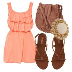 coral dress and brown leather