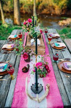 Ideas bodas bohemias. Decoracion de la mesa Más