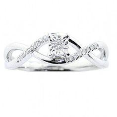 10K White Gold Diamond Promise Ring Engagement Infinity Style (i2/i3, i/j) - http://www.jewelryfashionlife.com/10k-white-gold-diamond-promise-ring-engagement-infinity-style-i2i3-ij/
