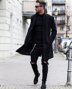 Black trench and distressed black denim