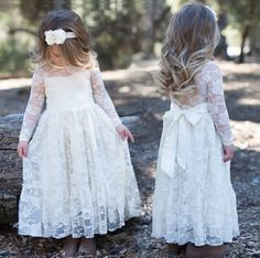Flower Girl Long Sleeves Dress Lace Bow Sash by ShopGingerWedding