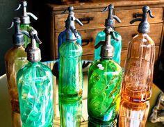 Vintage Seltzer Glass Colorful Bottles Paris, France***Research for possible future project.