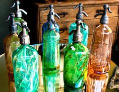 Vintage Seltzer Glass Colorful Bottles Paris, France***Research for possible future project.