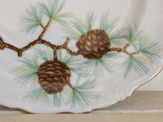 antique pinecone plate for winter decor