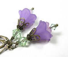 Lilac and Chrysolite Flower Earrings, Gifts for Gardeners, Radiant Orchid, Floral Jewelry, Gifts for Mom, Pantone Spring, Two Tone Earrings on Etsy, $23.00