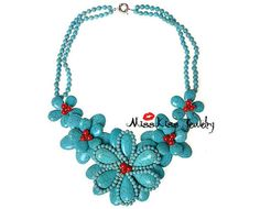 Turquoise Bib Necklace, Statement Necklace, Wedding Necklace, Chunky Flower Necklace, Fashion Jewelry T0029