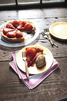 Roasted Pear Tarte Tatin with Brown Sugar-Balsamic Swirl Ice Cream