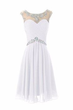 AHP348 A-line Scoop Neck White Chiffon Cap Sleeve Short Prom Dresses 2017