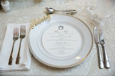 lisa stoner events- central florida wedding planner- ritz carlton wedding- wedding reeption- white charger plate with gold rim - lace linen- custom menu cards. Civil Wedding, Lace Wedding, Wedding Design Inspiration, Menu Cards, Central Florida, Weeding, Stoner, Wedding Designs, Event Planning