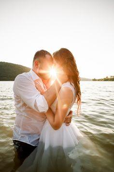 Romantic wedding pose in water at sunset Wedding Poses, Dress Wedding, Wedding Portraits, Destination Wedding Photographer, Travel Around The World, Elegant Wedding, Groom, Flower Girl Dresses, Romantic