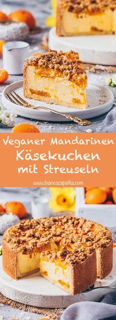 Mandarin Cheesecake with Sprinkles (Vegan) - Bianca Zapatka Delicious Cake Recipes, Vegan Dessert Recipes, Vegan Sweets, Yummy Cakes, Sweet Recipes, Desserts, Simple Recipes, Vegan Food, Healthy Food
