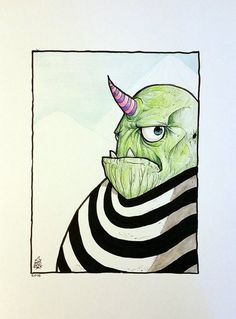 The Grump - Art by Krowe (Jake Perez) Monster, Colored Pencils, Monster Artwork, Artwork, Ink, Draw, How To Draw Hands, Vintage, Color
