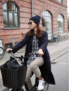 #beauty #style #fashion #woman #clothes #outfit #wearable #winter #fall #autumn #plaided #shirt #blue #coat #beige #pants #adidas #trainers #blue #beanie