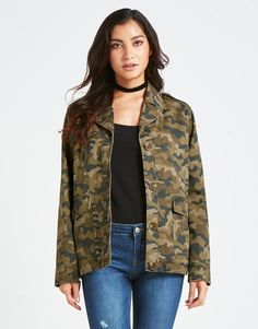 Give your black tee over skinny jeans, a trendy look by pairing this camo jacket from Anita & Green over it! A fashion staple through all seasons.. So what your waiting for? Bring your boots out of the closet and get yourself on the highway!