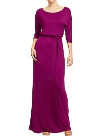 Plum's the Word: Women's Belted Jersey Maxi Dresses