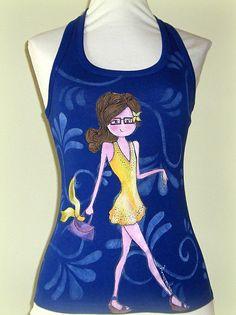 Womens tank top, lapis blue, painted girl, hand painted tshirt, wearable art, original art to wear. de irismuse en Etsy