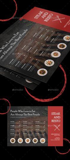Food Menu Template Templates Flyer Design Print Lunch Dinner Table Italian