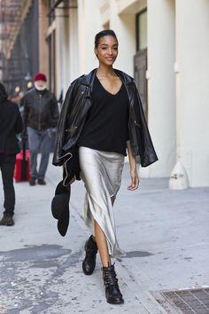 outfit silver skirt slip dress metallic silk leather jacket street style New York fashion week Long Silk Skirt, Satin Midi Skirt, Silk Dress, Dress Long, Prom Dress, Wedding Dress, Dress Skirt, Silver Skirt, Metallic Skirt