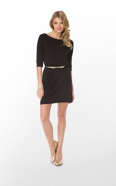 Little black dress from Lily Pulitzer dressed up with thin gold belt. Very French.